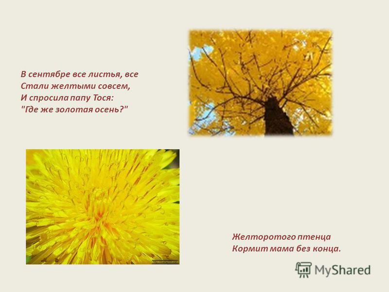 В сентябре все листья, все Стали желтыми совсем, И спросила папу Тося: Где же золотая осень? Желторотого птенца Кормит мама без конца.