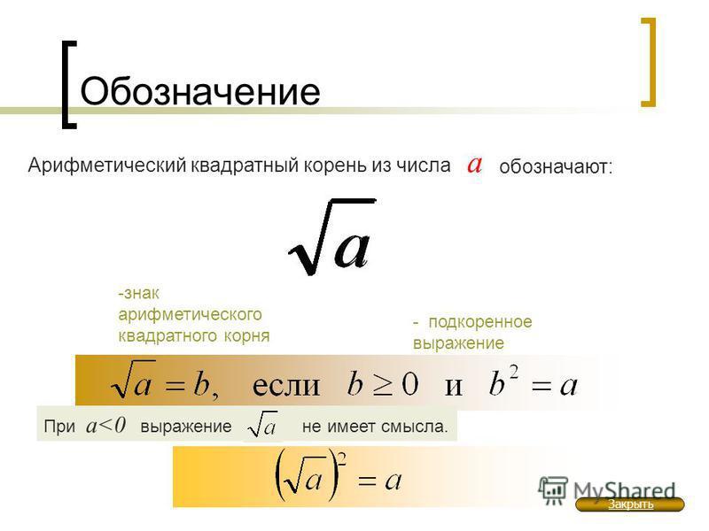 Обозначение Арифметический квадратный корень из числа а обозначают: -знак арифметического квадратного корня - подкоренное выражение При а<0 выражение не имеет смысла. Закрыть