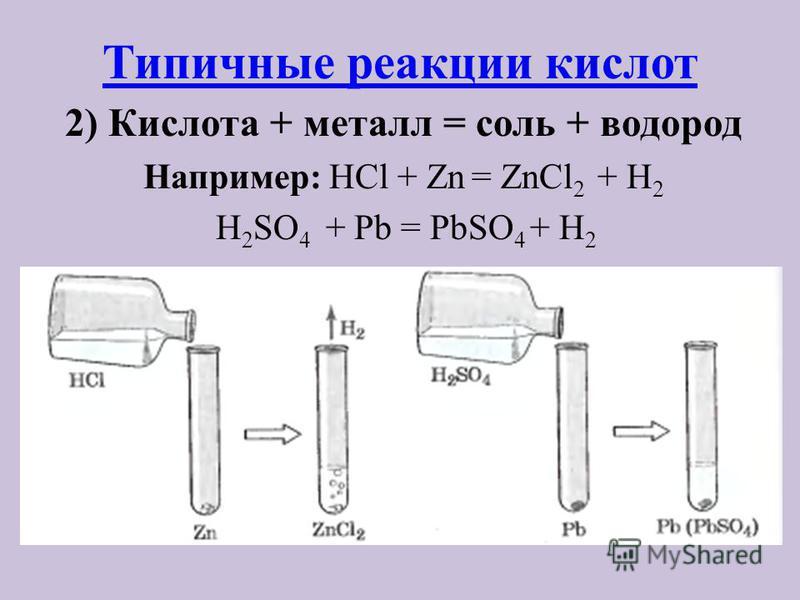 Типичные реакции кислот 2) Кислота + металл = соль + водород Например: HCl + Zn = ZnCl 2 + H 2 H 2 SO 4 + Pb = PbSO 4 + H 2