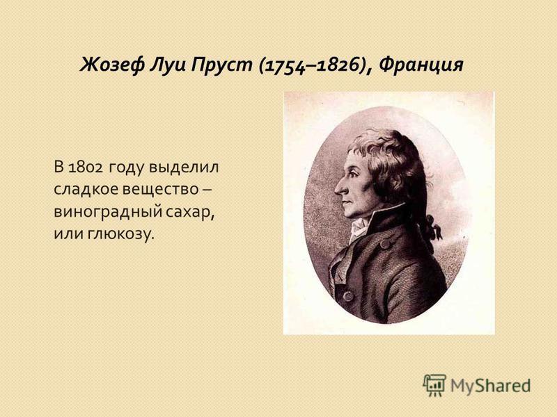 Жозеф Луи Пруст (1754–1826), Франция В 1802 году выделил сладкое вещество – виноградный сахар, или глюкозу.
