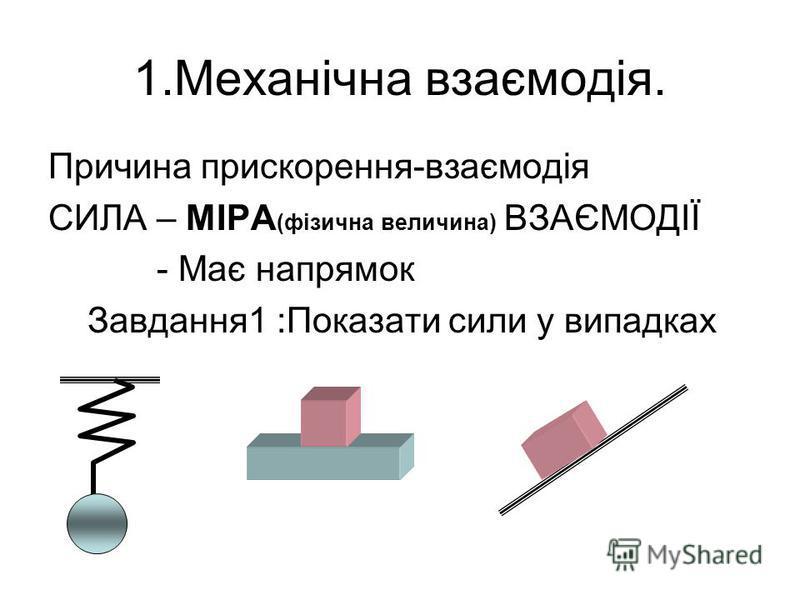 1.Механічна взаємодія. Причина прискорення-взаємодія СИЛА – МІРА (фізична величина) ВЗАЄМОДІЇ - Має напрямок Завдання1 :Показати сили у випадках