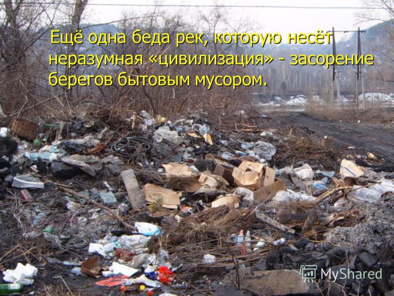 Ещё одна беда рек, которую несёт неразумная «цивилизация» - засорение берегов бытовым мусором. Ещё одна беда рек, которую несёт неразумная «цивилизация» - засорение берегов бытовым мусором.