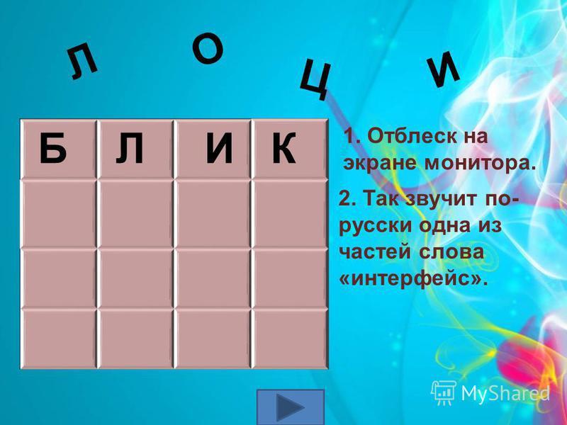 И Ц О Л 2. Так звучит по- русски одна из частей слова «интерфейс». Б Л И К