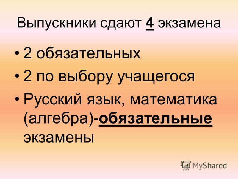 Выпускники сдают 4 экзамена 2 обязательных 2 по выбору учащегося Русский язык, математика (алгебра)-обязательные экзамены