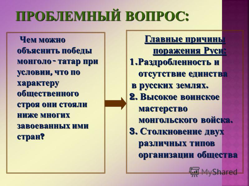 Чем можно объяснить победы монголо - татар при условии, что по характеру общественного строя они стояли ниже многих завоеванных ими стран ? Чем можно объяснить победы монголо - татар при условии, что по характеру общественного строя они стояли ниже м