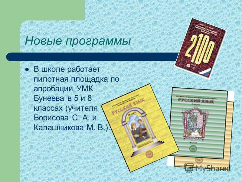 Новые программы В школе работает пилотная площадка по апробации УМК Бунеева в 5 и 8 классах (учителя Борисова С. А. и Калашникова М. В.).