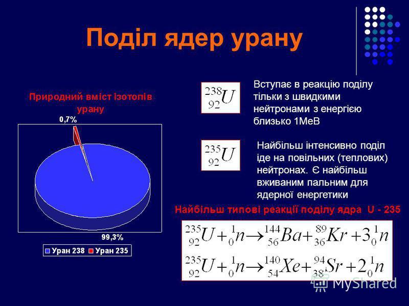 Поділ ядер урану Вступає в реакцію поділу тільки з швидкими нейтронами з енергією близько 1МеВ Найбільш інтенсивно поділ іде на повільних (теплових) нейтронах. Є найбільш вживаним пальним для ядерної енергетики Найбільш типові реакції поділу ядра U -