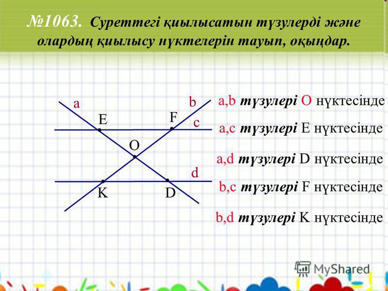 1063. Суреттегі қиылысатын түзулерді және олардың қиылысу нүктелерін тауып, оқыңдар.. K... D F E. O a c d b а,с түзулері E нүктесінде a,d түзулері D нүктесінде b,c түзулері F нүктесінде b,d түзулері K нүктесінде a,b түзулері О нүктесінде