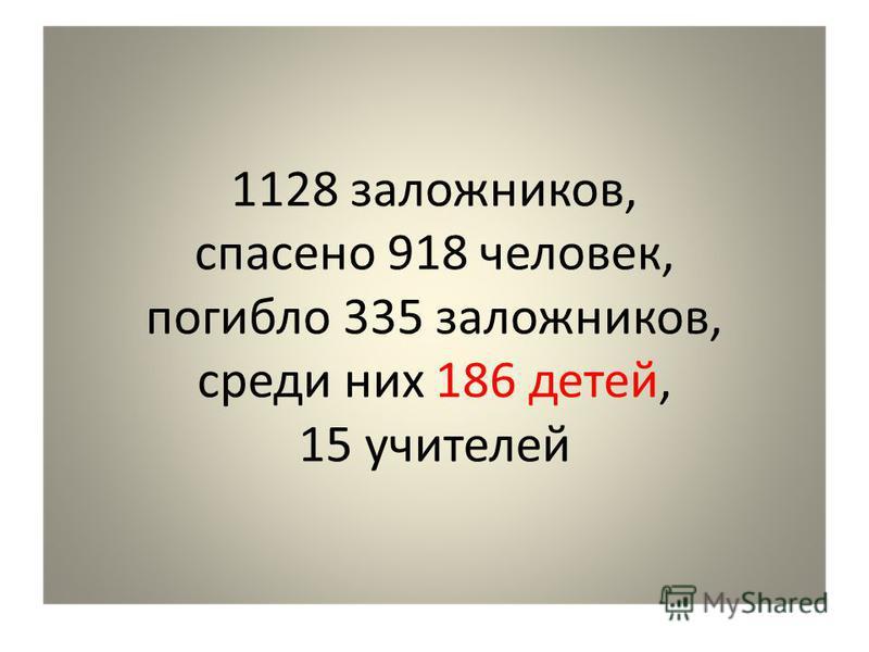 1128 заложников, спасено 918 человек, погибло 335 заложников, среди них 186 детей, 15 учителей