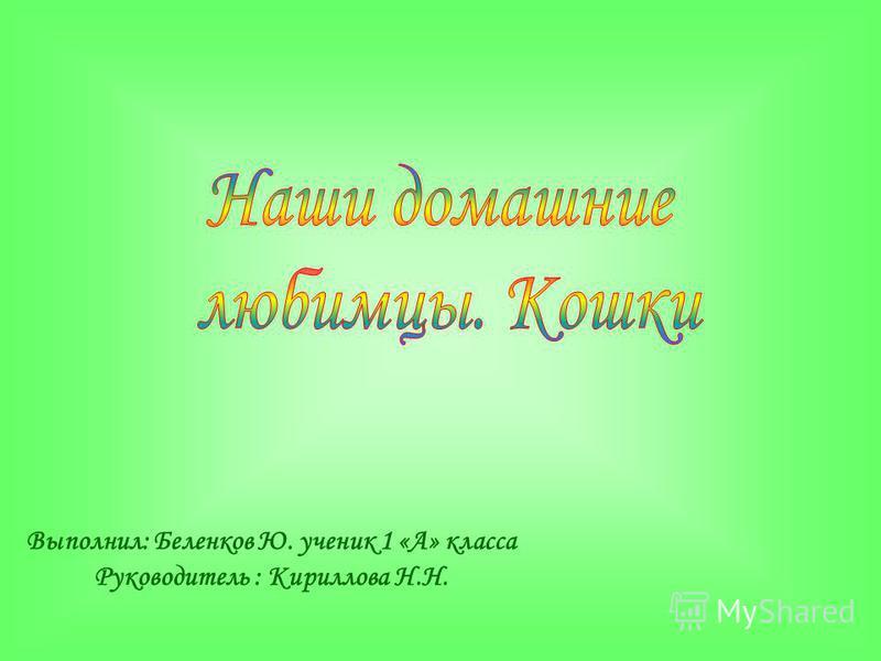 Выполнил: Беленков Ю. ученик 1 «А» класса Руководитель : Кириллова Н.Н.