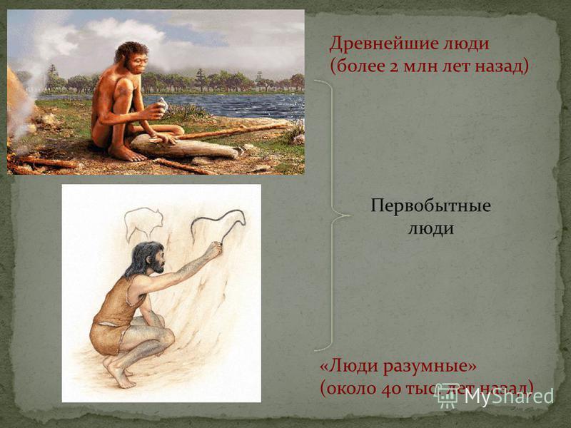 Древнейшие люди (более 2 млн лет назад) «Люди разумные» (около 40 тыс. лет назад) Первобытные люди