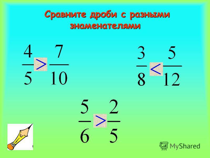 Правило! Чтобы сравнить дроби с разными знаменателями, нужно: 1. Привести дроби к общему знаменателю; 2. Сравнить дроби по правилу сравнения дробей с одинаковыми знаменателями.