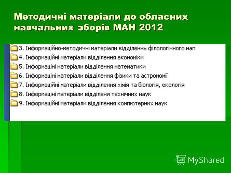 Методичні матеріали до обласних навчальних зборів МАН 2012