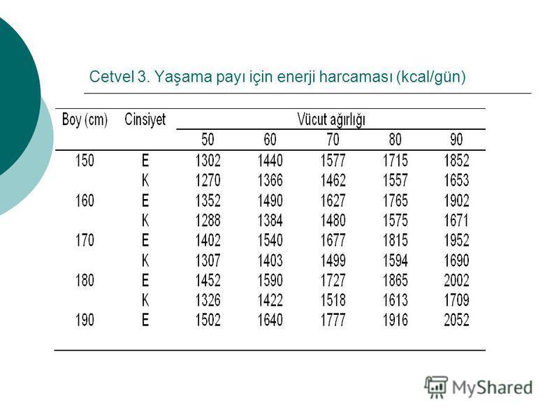 Cetvel 3. Yaşama payı için enerji harcaması (kcal/gün)