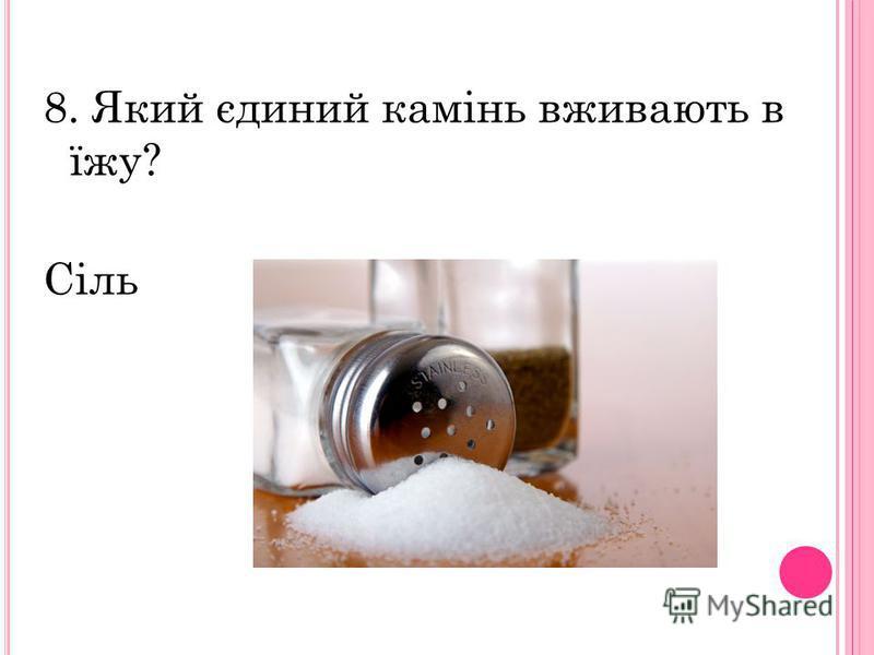 8. Який єдиний камінь вживають в їжу? Сіль
