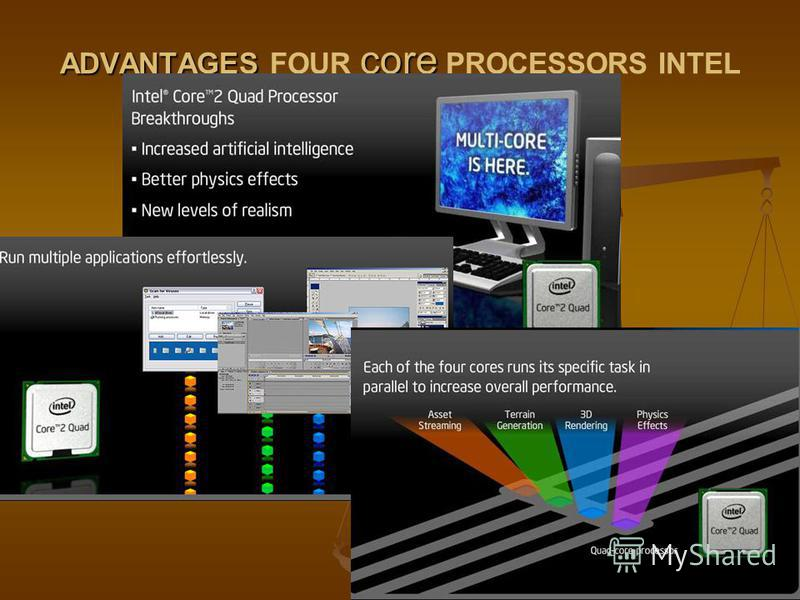 ADVANTAGES core ADVANTAGES FOUR core PROCESSORS INTEL