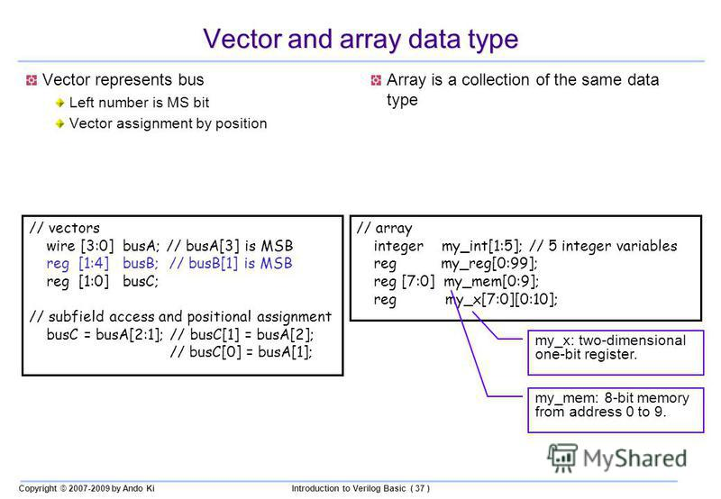 Copyright © 2007-2009 by Ando KiIntroduction to Verilog Basic ( 37 ) Vector and array data type Vector represents bus Left number is MS bit Vector assignment by position Array is a collection of the same data type // vectors wire [3:0] busA; // busA[