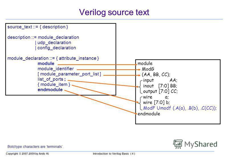 Copyright © 2007-2009 by Ando KiIntroduction to Verilog Basic ( 4 ) Verilog source text source_text ::= { description } description ::= module_declaration | udp_declaration | config_declaration module_declaration ::= { attribute_instance } module mod