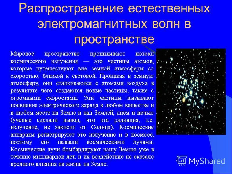 Распространение естественных электромагнитных волн в пространстве Мировое пространство пронизывают потоки космического излучения это частицы атомов, которые путешествуют вне земной атмосферы со скоростью, близкой к световой. Проникая в земную атмосфе