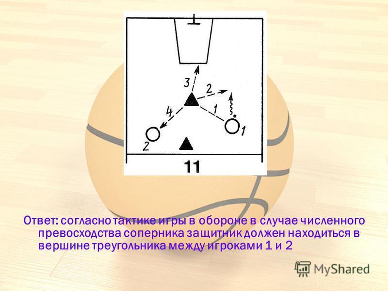 Ответ: согласно тактике игры в обороне в случае численного превосходства соперника защитник должен находиться в вершине треугольника между игроками 1 и 2