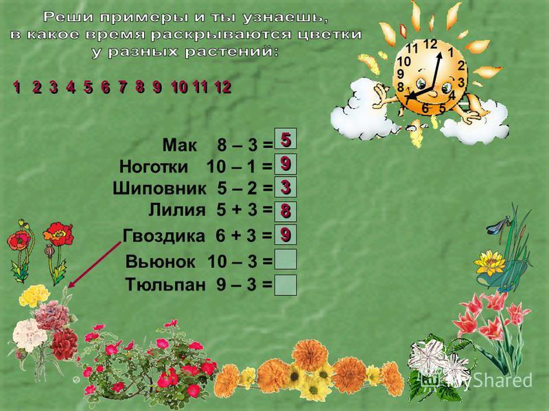 1 2 3 4 56 7 8 9 10 11 Мак 8 – 3 = Ноготки 10 – 1 = Шиповник 5 – 2 = Лилия 5 + 3 = Гвоздика 6 + 3 = Вьюнок 10 – 3 = Тюльпан 9 – 3 = 2 2 1 1 3 3 4 4 5 5 6 6 7 7 8 8 9 9 11 10 12 5 5 9 9 3 3 8 8