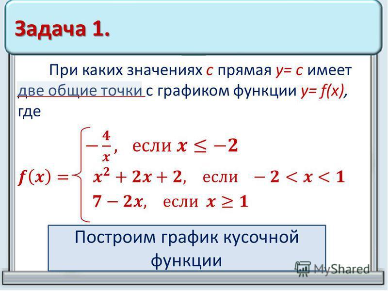 Задача 1. Построим график кусочной функции
