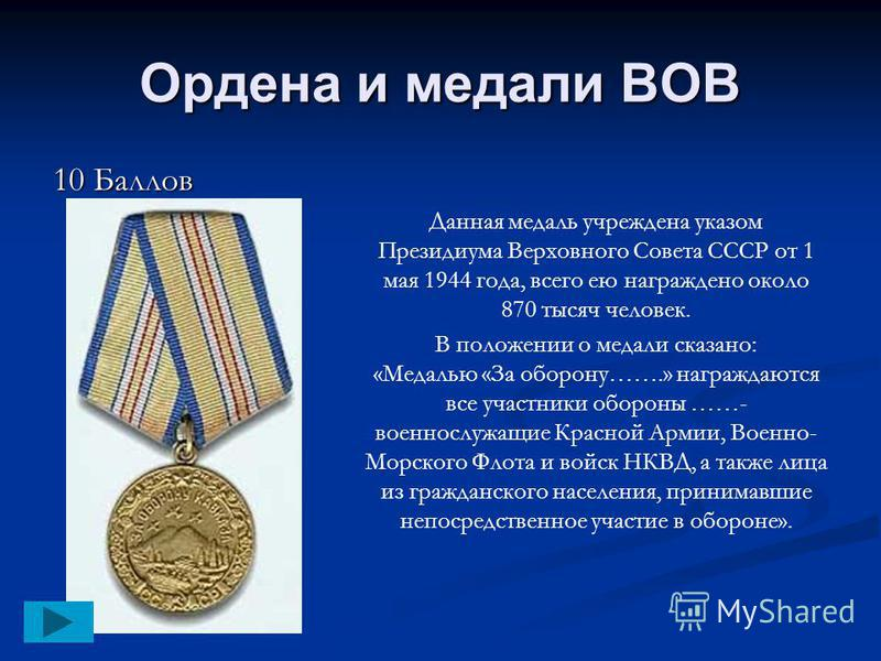 Ордена и медали ВОВ 10 Баллов Данная медаль учреждена указом Президиума Верховного Совета СССР от 1 мая 1944 года, всего ею награждено около 870 тысяч человек. В положении о медали сказано: «Медалью «За оборону…….» награждаются все участники обороны
