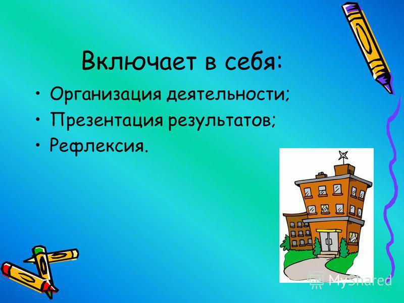 Организация деятельности; Презентация результатов; Рефлексия.