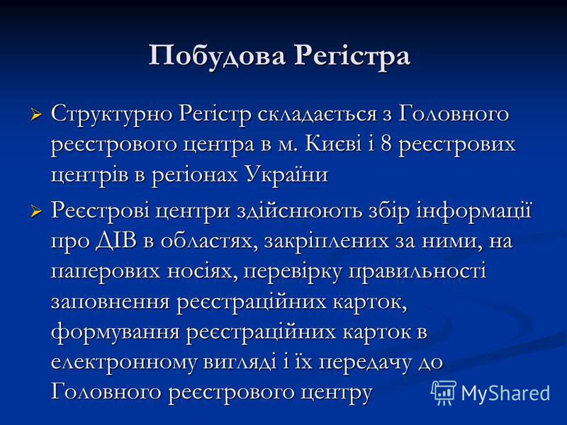 Побудова Регістра Побудова Регістра Структурно Регістр складається з Головного реєстрового центра в м. Києві і 8 реєстрових центрів в регіонах України Структурно Регістр складається з Головного реєстрового центра в м. Києві і 8 реєстрових центрів в р