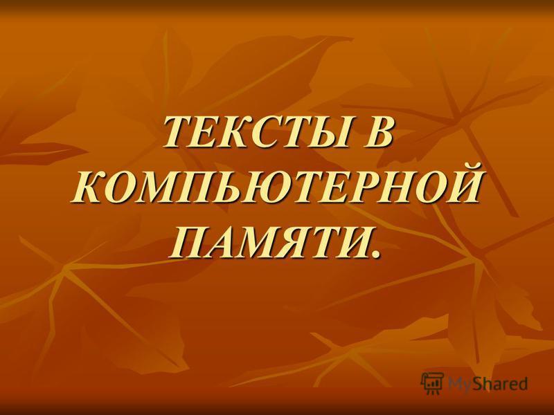 ТЕКСТЫ В КОМПЬЮТЕРНОЙ ПАМЯТИ.
