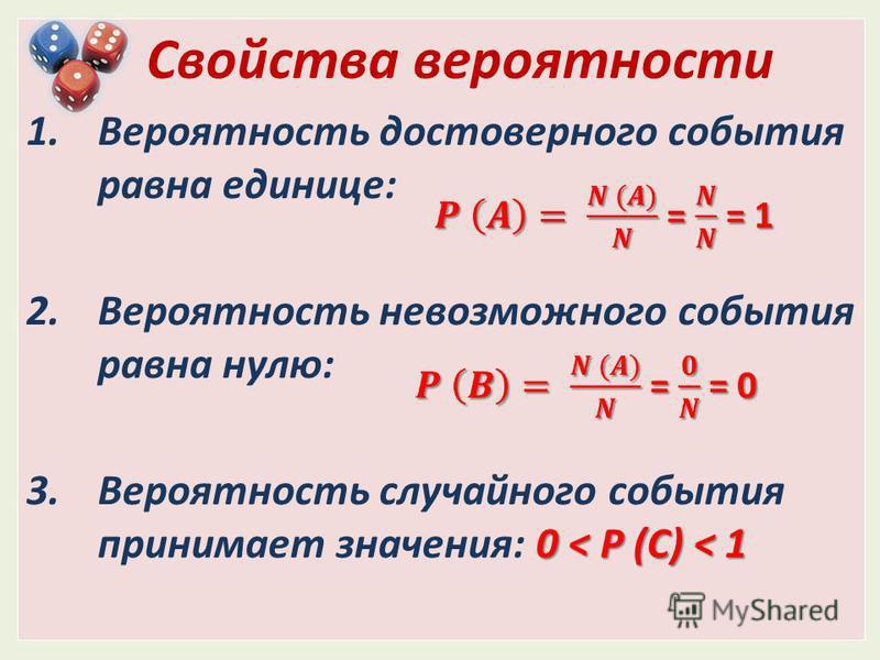 Свойства вероятности 1. Вероятность достоверного события равна единице: 2. Вероятность невозможного события равна нулю: 0 < P (C) < 1 3. Вероятность случайного события принимает значения: 0 < P (C) < 1