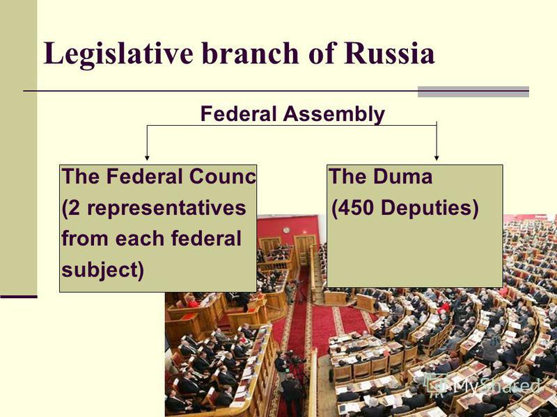 Legislative branch of Russia Federal Assembly The Federal Counc The Duma (2 representatives (450 Deputies) from each federal subject)