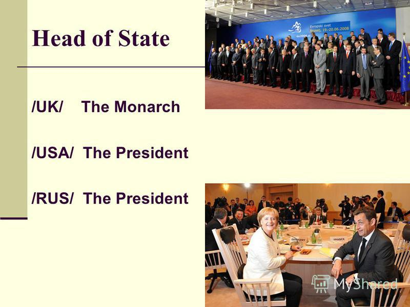 Head of State /UK/ The Monarch /USA/ The President /RUS/ The President