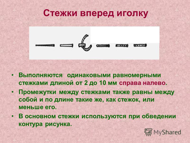 Стежки вперед иголку Выполняются одинаковыми равномерными стежками длиной от 2 до 10 мм справа налево. Промежутки между стежками также равны между собой и по длине такие же, как стежок, или меньше его. В основном стежки используются при обведении кон