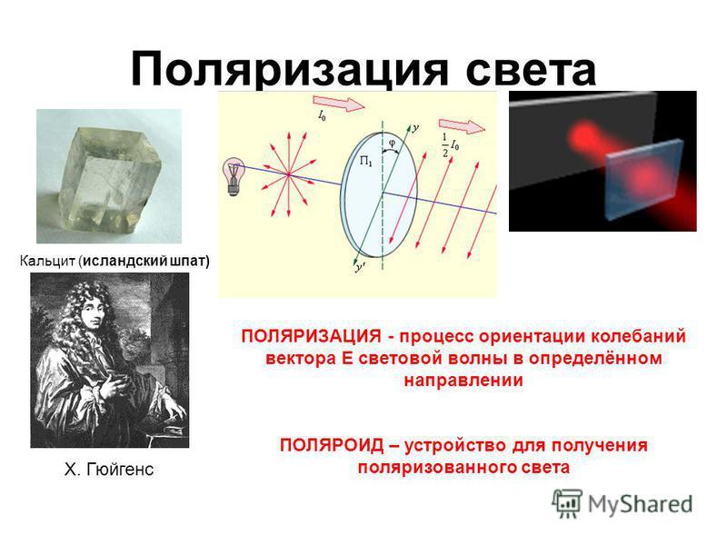 Поляризация света Кальцит (исландский шпат) Х. Гюйгенс ПОЛЯРИЗАЦИЯ - процесс ориентации колебаний вектора E световой волны в определённом направлении ПОЛЯРОИД – устройство для получения поляризованного света