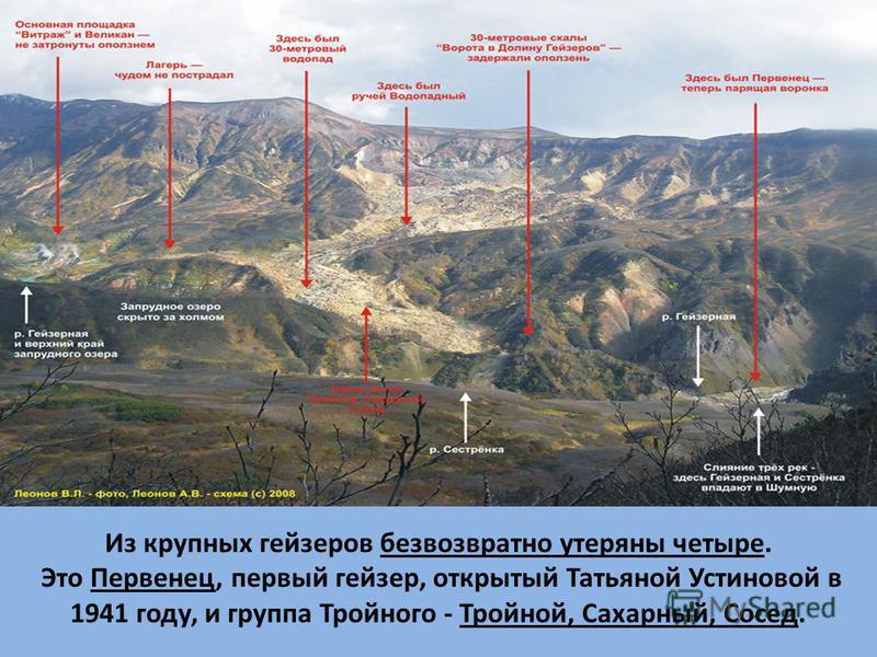 Из крупных гейзеров безвозвратно утеряны четыре. Это Первенец, первый гейзер, открытый Татьяной Устиновой в 1941 году, и группа Тройного - Тройной, Сахарный, Сосед.