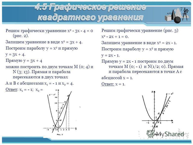 Решим графически уравнение х 2 - 3 х - 4 = 0 (рис. 2). Запишем уравнение в виде х 2 = 3 х + 4. Построим параболу у = х 2 и прямую у = 3 х + 4. Прямую у = 3 х + 4 можно построить по двум точкам М (0; 4) и N (3; 13). Прямая и парабола пересекаются в дв