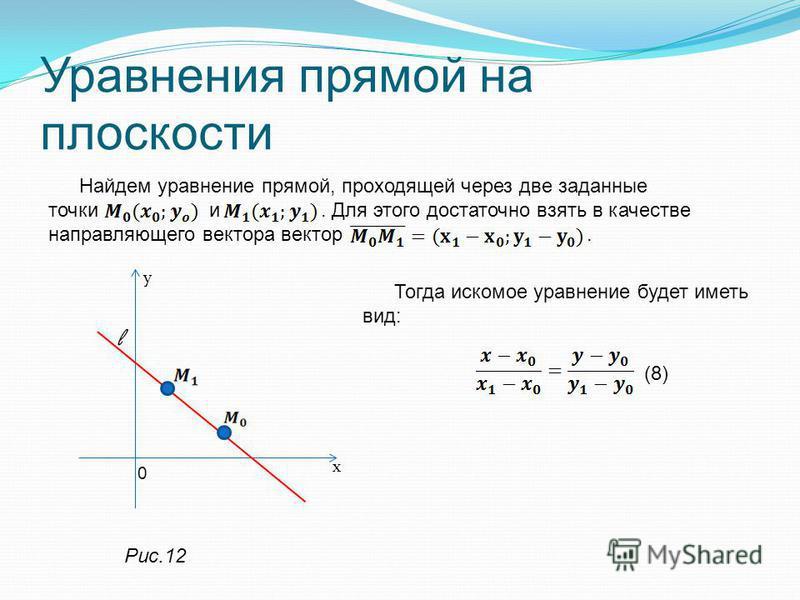 Уравнения прямой на плоскости Найдем уравнение прямой, проходящей через две заданные точки и. Для этого достаточно взять в качестве направляющего вектора вектор. Тогда искомое уравнение будет иметь вид: (8) l у 0 х Рис.12