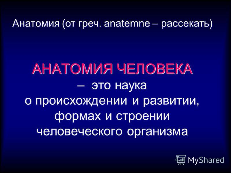 АНАТОМИЯ ЧЕЛОВЕКА – это наука о происхождении и развитии, формах и строении человеческого организма Анатомия (от греч. anatemne – рассекать)