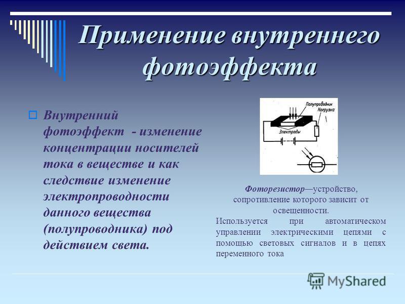 Применение внутреннего фотоэффекта Внутренний фотоэффект - изменение концентрации носителей тока в веществе и как следствие изменение электропроводности данного вещества (полупроводника) под действием света. Фоторезисторустройство, сопротивление кото