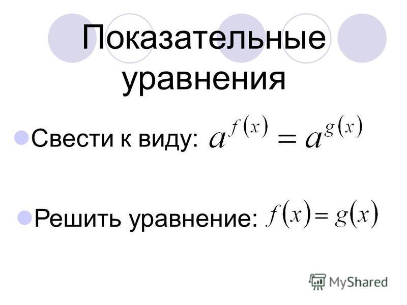Показательные уравнения Свести к виду: Решить уравнение: