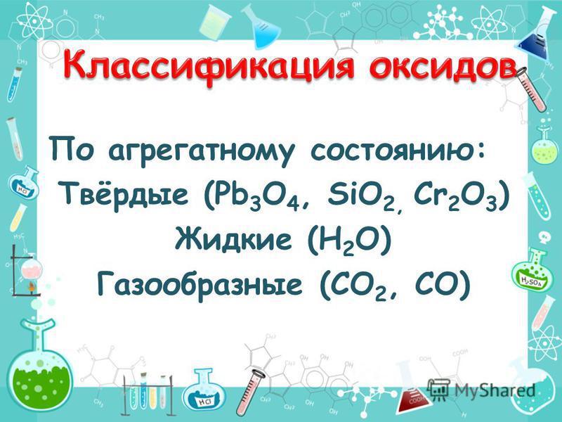 По агрегатному состоянию: Твёрдые (Pb 3 O 4, SiO 2, Cr 2 O 3 ) Жидкие (Н 2 О) Газообразные (CO 2, CO)