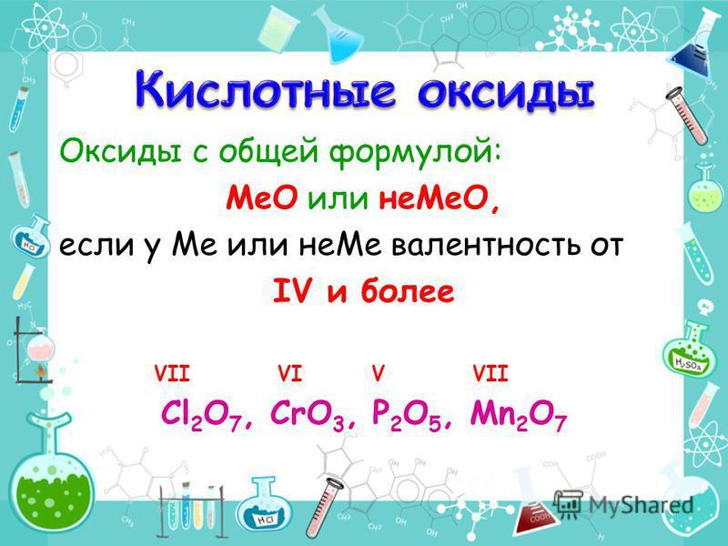 Оксиды с общей формулой: МеО или не МеО, если у Ме или не Ме валентность от IV и более VII VI V VII Сl 2 O 7, CrO 3, P 2 O 5, Mn 2 O 7