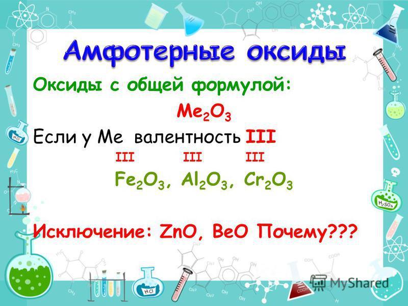 Оксиды с общей формулой: Ме 2 О 3 Если у Ме валентность III III III III Fe 2 O 3, Al 2 O 3, Cr 2 O 3 Исключение: ZnO, BeO Почему???