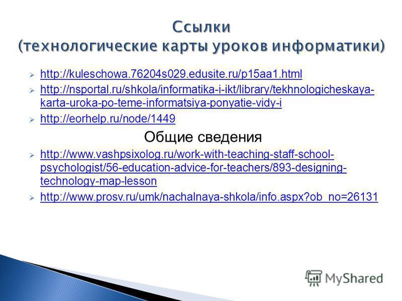 http://kuleschowa.76204s029.edusite.ru/p15aa1. html http://nsportal.ru/shkola/informatika-i-ikt/library/tekhnologicheskaya- karta-uroka-po-teme-informatsiya-ponyatie-vidy-i http://nsportal.ru/shkola/informatika-i-ikt/library/tekhnologicheskaya- karta