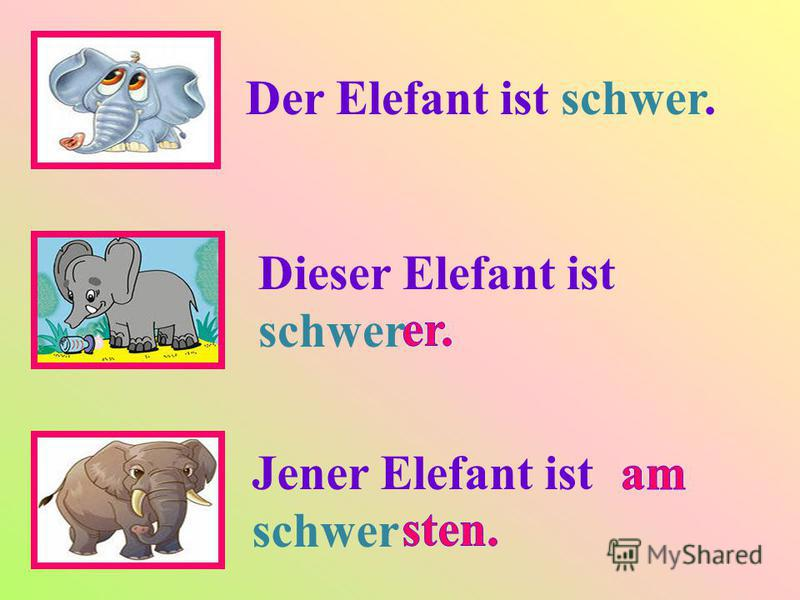 Der Elefant ist schwer. Dieser Elefant ist schwer Jener Elefant ist schwer