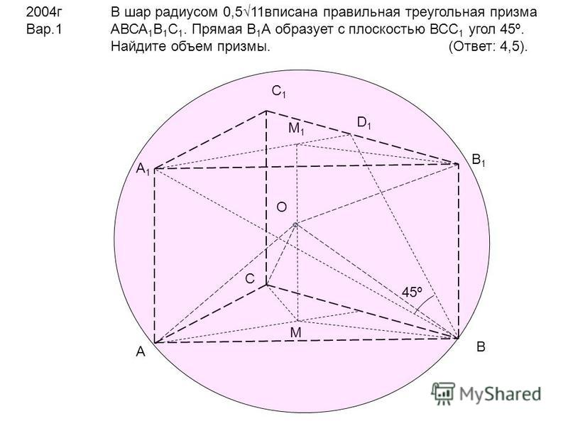 2004 г Вар.1 В шар радиусом 0,511 вписана правильная треугольная призма АВСА 1 В 1 С 1. Прямая В 1 А образует с плоскостью ВСС 1 угол 45º. Найдите объем призмы. (Ответ: 4,5). А В С А1А1 В1В1 С1С1 D1D1 45º M M1M1 O