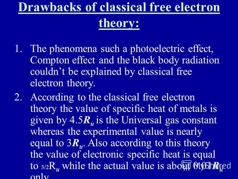 11 Drawbacks of classical free electron theory: 1.The phenomena such a photoelectric effect, Compton effect and the black body radiation couldnt be explained by classical free electron theory. 2.According to the classical free electron theory the val