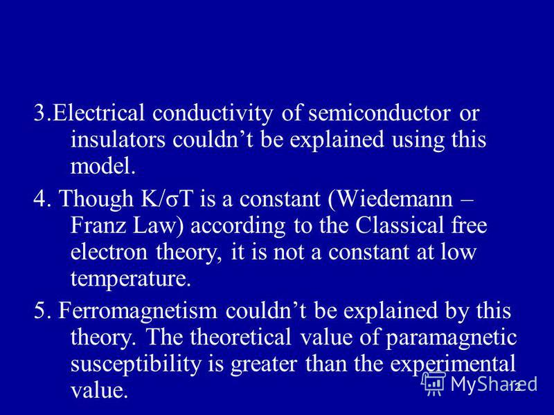 12 3.Electrical conductivity of semiconductor or insulators couldnt be explained using this model. 4. Though K/σT is a constant (Wiedemann – Franz Law) according to the Classical free electron theory, it is not a constant at low temperature. 5. Ferro