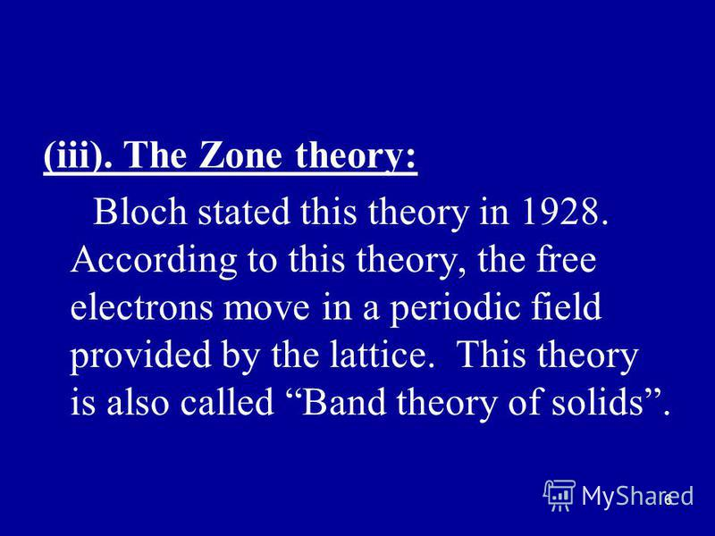 6 (iii). The Zone theory: Bloch stated this theory in 1928. According to this theory, the free electrons move in a periodic field provided by the lattice. This theory is also called Band theory of solids.